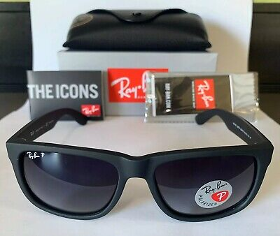 AU119 • Buy Ray-Ban Justin Sunglasses RB4165 622/T3 54mm Black Grey Gardient Polarized