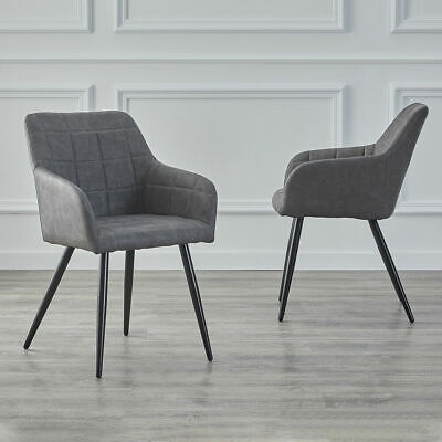 £109.99 • Buy 2pcs Luxury Dining Chairs Faux Leather Padded Seat Armchair Metal Legs Tub Chair