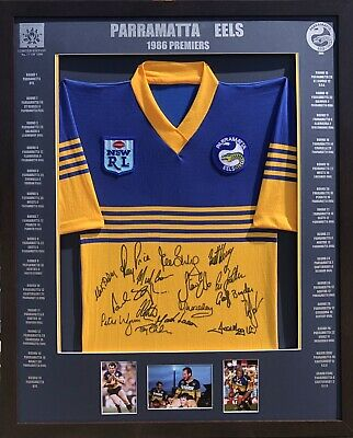 AU500 • Buy Blazed In Glory - 1986 Parramatta Eels Premiers - NRL Signed & Framed Jersey