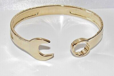 9ct Gold On Silver Men's Heavy Spanner Bangle • 125£