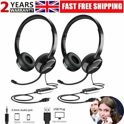 Mpow 071 Computer USB Headset W/ 3.5mm Jack Wired Headphones For PC Skype Office • 44.83£