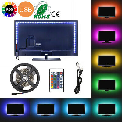 $7.99 • Buy USB Powered RGB 5050 LED Light Strip Computer TV Backlight Remote 0.5m-5m Kit