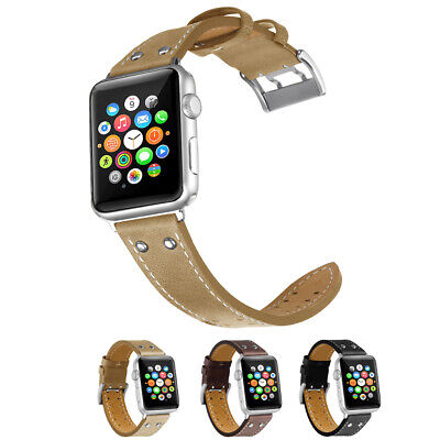 $ CDN19.69 • Buy For Apple Watch Series 5 4 3 2 38-44mm!Stitched Genuine Leather Band Belt Strap