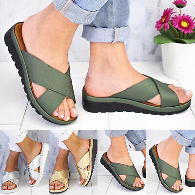 $22.13 • Buy Womens Low Wedge Flatform Sandals Slippers Sliders Ladies Wide Strap Shoes Size