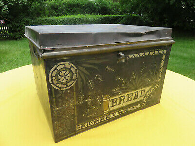 $25 • Buy Vintage Black Tin Metal Bread Box, Stenciled, Beat-up But Has A Rustic Charm