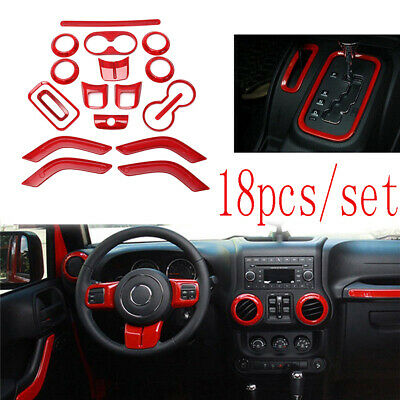 $39.99 • Buy 18x Red Car Interior Decor Trim Cover Accessories For Jeep Wrangler JK 2011-2017