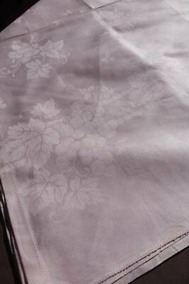 Vintage UNUSED Sugar Pink French Damask Tablecloth - Fruiting Vines Design. • 5£