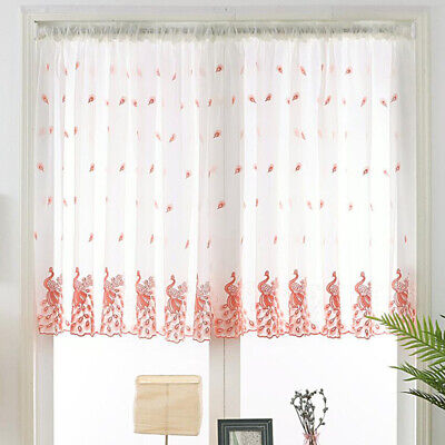 Peacock Embroidered Window Gauze Study Room Bedroom Curtains Bay Window LC • 4.69£