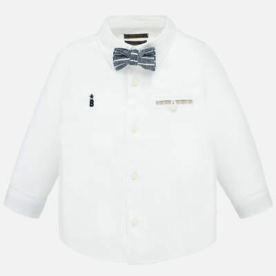 £12 • Buy Spanish Mayoral Baby Boys White Long Sleeve Collared Shirt & Bow Tie - 6 Months