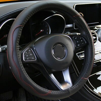 $10.59 • Buy 38cm Car Interior Auto Steering Wheel Cover Black & Red PU Leather Accessories