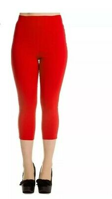 Hell Bunny 50s Rockabilly Pedal Pushers TINA Capri Trousers Red XL • 7£