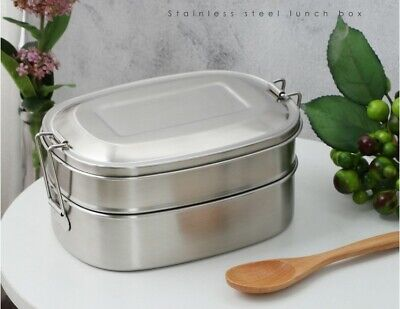 AU29.99 • Buy Double Decker 304 Stainless Steel Lunch Box Picnic School Lunch Snack Food Stora