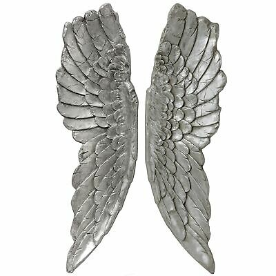 X Large 104cm Antique Silver Angel Wings Wall Mounted Art Decor Hanging Home • 109.99£