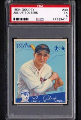 $69.99 • Buy 1934 Goudey #30 Julius Solters Red Sox Ex PSA 5