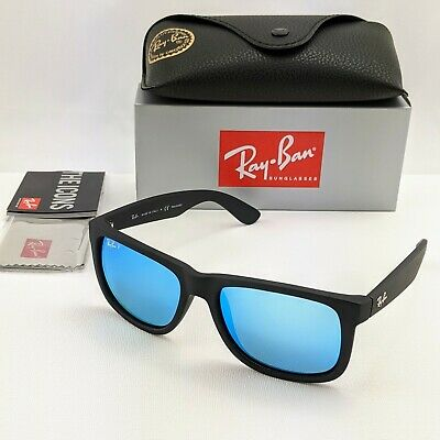 AU66.50 • Buy RayBan Justin POLARIZED Sunglasses - Matte Black Blue Mirror - RB4165 54-16