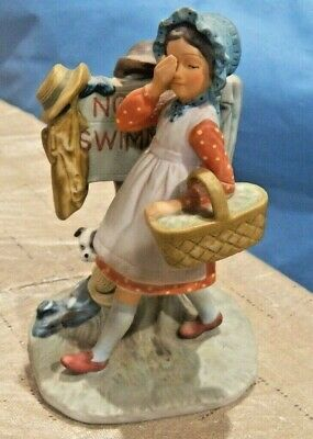$ CDN18.88 • Buy Cute Norman Rockwell Girl Figurine  No Swimming  From The Gift World Of Gorham