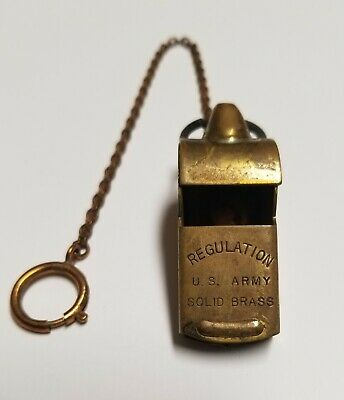 $65 • Buy Regulation U S Army Military Solid Brass Emergency Whistle 8  Hook Chain