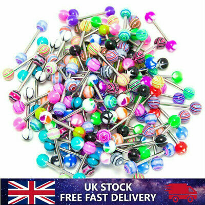 30 X Tongue Bars Surgical Steel Barbell Rings Mixed Ball Bar Piercing Jewellery • 3.59£