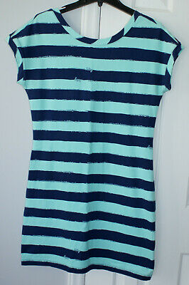 $11.50 • Buy Women's Medium Lilly Pulitzer A-Line Blue Striped Dress Scoop Neck Button Back