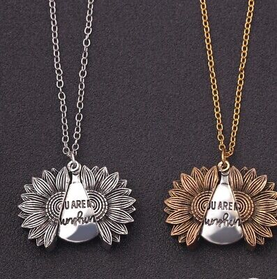 AU8.40 • Buy You Are My Sunshine Open Locket Sunflower Pendant Necklace New Gold & Silver