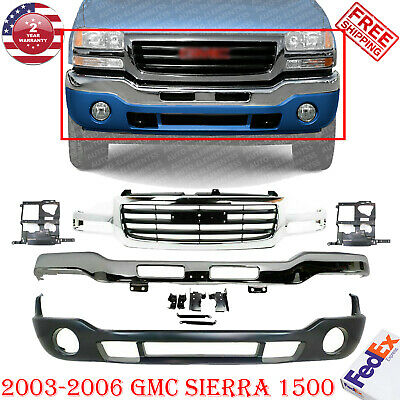 $405 • Buy Front Chrome Steel Bumper Kit W/ Brackets + Grille For 2003-2006 GMC Sierra 1500