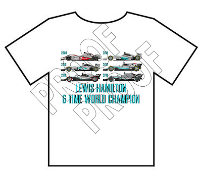 Lewis Hamilton 6 Time F1 World Champion Mercedes McLaren T-Shirt ADULTS NEW • 9.99£