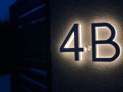 Led House Numbers Sign 3D Illuminous Waterproof Street Address Stainless Steel • 82.76£
