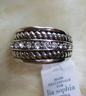 $ CDN27.16 • Buy Lia Sophia  Roped In  Cut Crystal Silver Tone Ring New Size 6.5 7 8 9 10