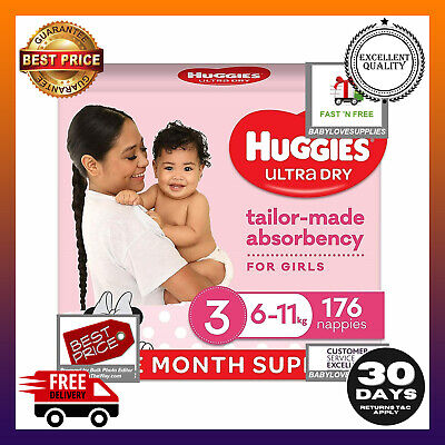 AU74.99 • Buy Huggies Disposable Nappies Girls,Size3 Crawler (6-11) 176 Count  Multibuy 5%off