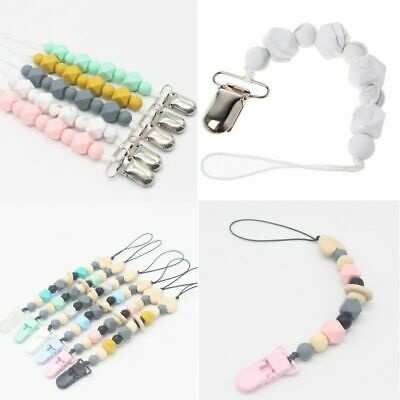 Pacifier Clips Pacifier Teething Baby Teether Chain Clip Bead Dummy Holders • 3.99£