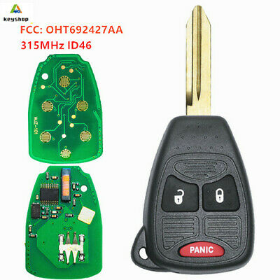 $8.91 • Buy Remote Car Key Fob 3 Button 315MHz ID46 For Chrysler Dodge Jeep FCC: OHT692427AA