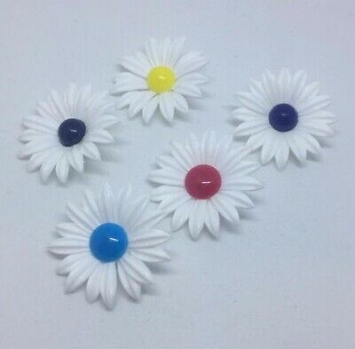 Vintage 1960s Daisy Flower Embellishments Haberdashery Set Of 5 • 1.50£