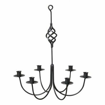 Black Wrought Iron New Hanging 6 Arm Candle Chandelier • 35.08£