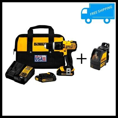 $448.61 • Buy 20V Li Ion Cordless Hammer Drill Cross Line Laser Level Battery Charger Bag Set