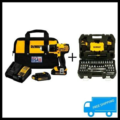 DEWALT 20V Li Ion 1/2 In Cordless Hammer Drill Driver 108 PCS Mechanics Tool Set • 291.01£