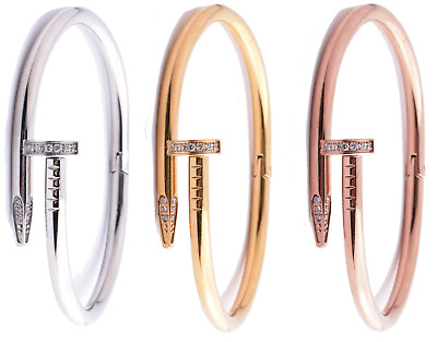 $16.46 • Buy  Fashion Nail Bracelet 18k Gold Plated Bangle Stainless Steel Swarovsky Crystals