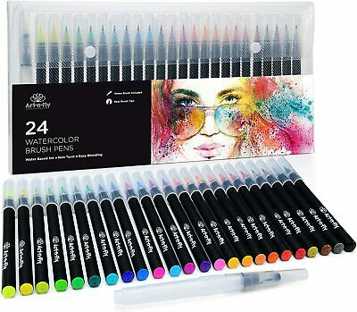 $26.95 • Buy 24 Watercolor Paint Brush Pens - Markers For Water Color Calligraphy Lettering A
