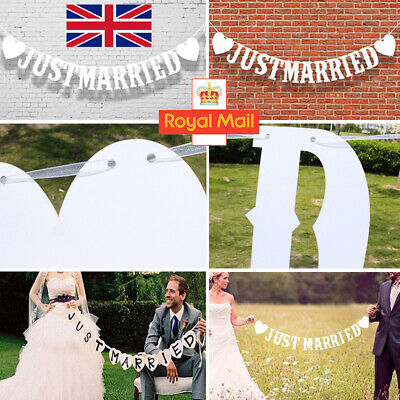 'JUST MARRIED' Vintage Banner Rustic Wedding Party Bunting Home Decoration UK • 3.47£
