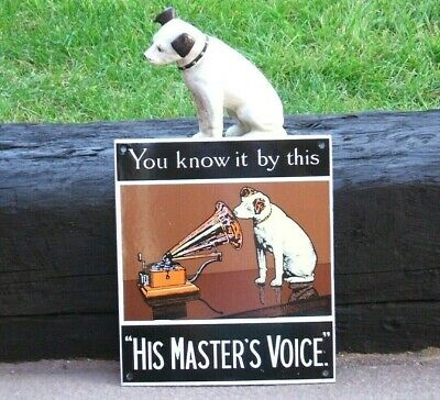 Hmv Enamel Sign His Master's Voice - Famous Image Nipper The Dog And Gramophone • 64.99£