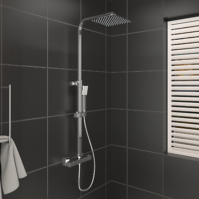 £59.13 • Buy Thermostatic Exposed Shower Mixer Bathroom Twin Head Large Square Bar Set Chrome