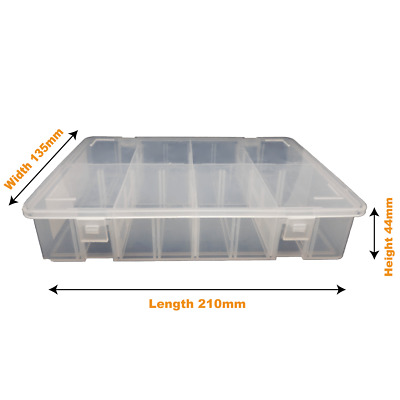X1 Clear Medium Storage Divider Box Adjustable X14 Dividers,16 Compartments • 5.80£