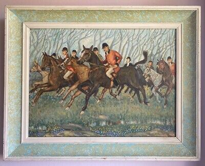 Framed Signed Original Oil Board 'A Penwith Chase' Hunting Scene Alan Keith-Hill • 80£