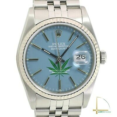 $ CDN6822.44 • Buy Rolex Datejust 16234 18KW/SS 36mm Steel Aqua Marine Leaf Dial Jubilee Watch