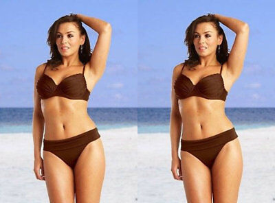 Saress Bikini Set Top Brief Size 10 S M Brown High Waist Balcony Bra Swimwear • 9.89£