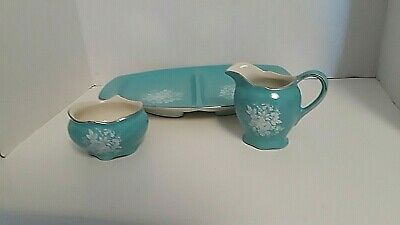 $ CDN32.74 • Buy 3 Pieces Turquoise Royal Winton GRIMWADES ENGLAND CREAMER SUGAR DIVIDED PLATE