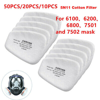 AU28.86 • Buy 50PCS 5N11 Cotton Filter Safe Protect Replacement For 6200 6800 7502 Respirator