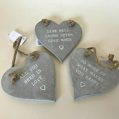 Grey Heart Hanging Decoration - Love Phrases Shabby Chic Grey Hearts Sign Plaque • 5.99£