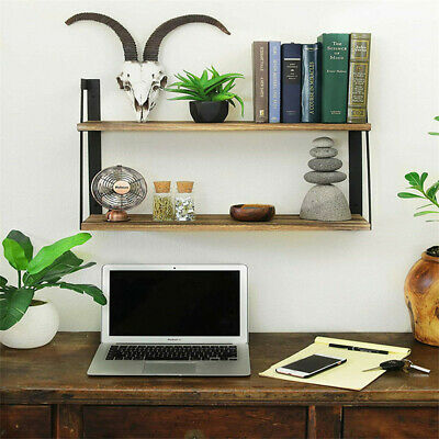 Industrial Floating Corner Shelf Shelves Wooden Wood Wall Mounted Storage 2 Tier • 22.99£