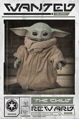 $12.99 • Buy STAR WARS THE MANDALORIAN BABY YODA WANTED POSTER, Size 24x36