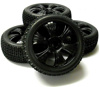 180024 1/8 Scale Off Road Buggy RC Wheels And Block Tread Tyres 6 Spoke Black X4 • 20.99£